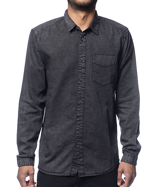 Globe Goodstock Vintage Black Long Sleeve Button Up Shirt at ...