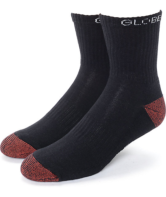 Globe Ingles Black & Red Crew Socks