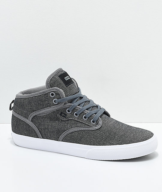 Globe Motley Mid Charcoal & White Twill Skate Shoes