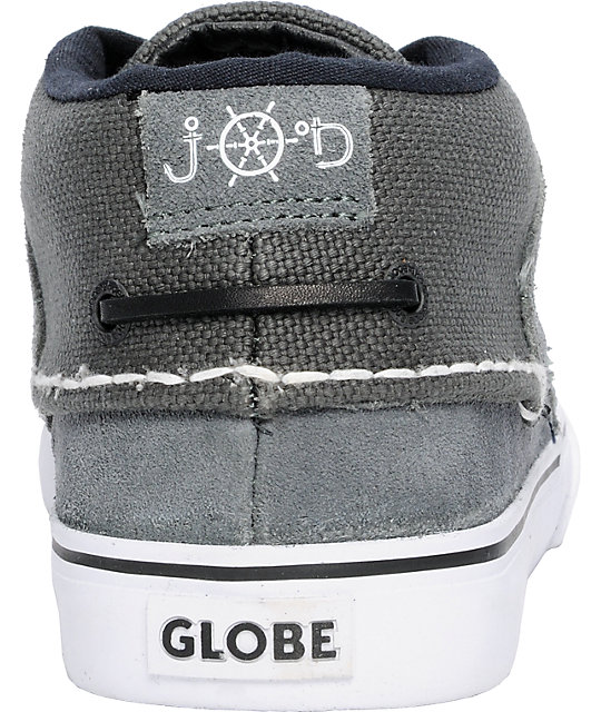 Globe Shoes Bender Charcoal, White, & Black Skate Shoes
