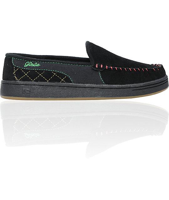 Globe Shoes Castro Black & Rasta Suede Slippers