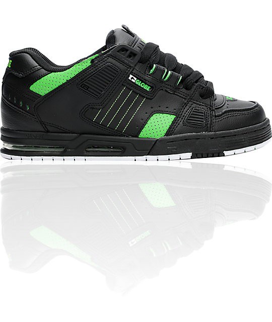 Globe Shoes Sabre Black & Moto Green Skate Shoes