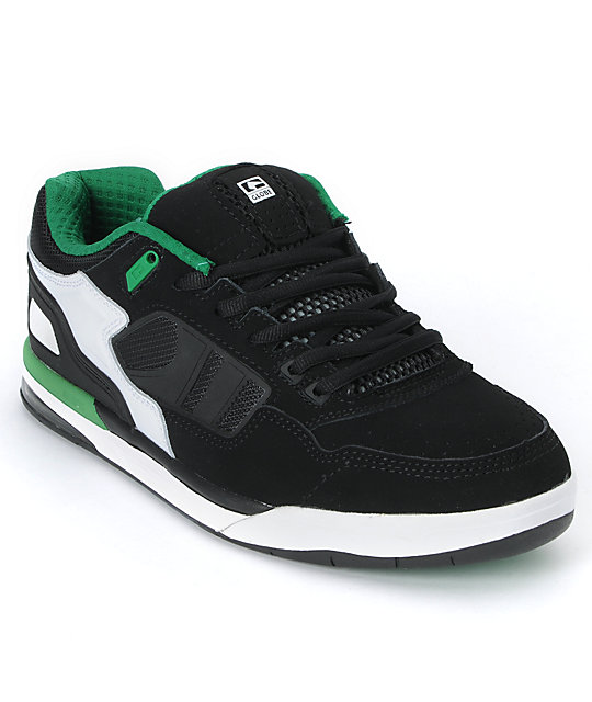 Globe Shoes Viper Black, White & Green Skate Shoes