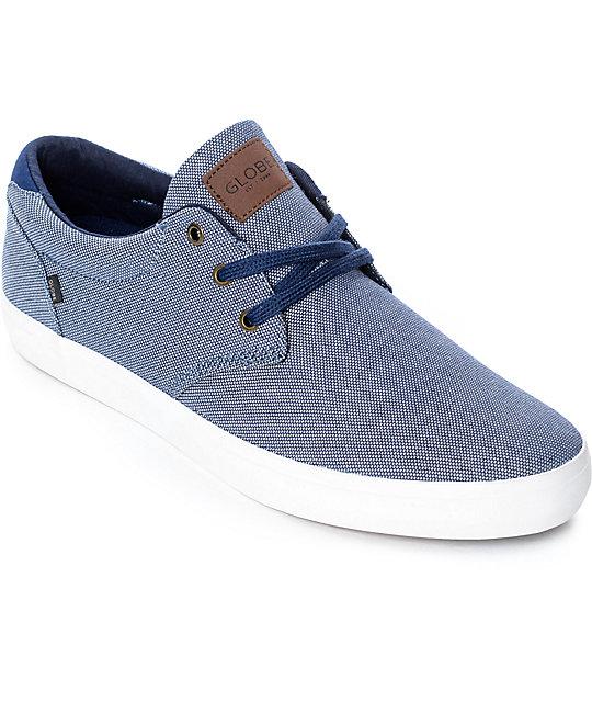 Globe Willow Navy Chambray & White Skate Shoes