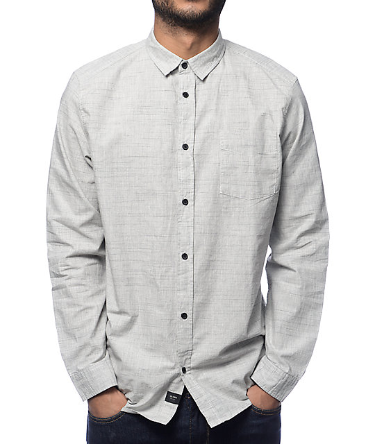 Globe Woods Grey Long Sleeve Button Up Shirt at Zumiez : PDP
