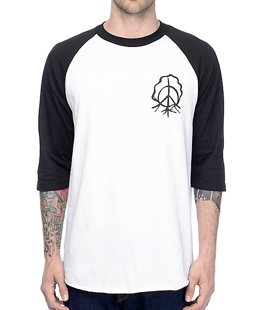 gnarly sharpie white black raglan t shirt. Black Bedroom Furniture Sets. Home Design Ideas