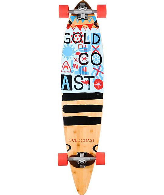 "Gold Coast Shaka Tack 44""  Bamboo Pintail Longboard Complete"