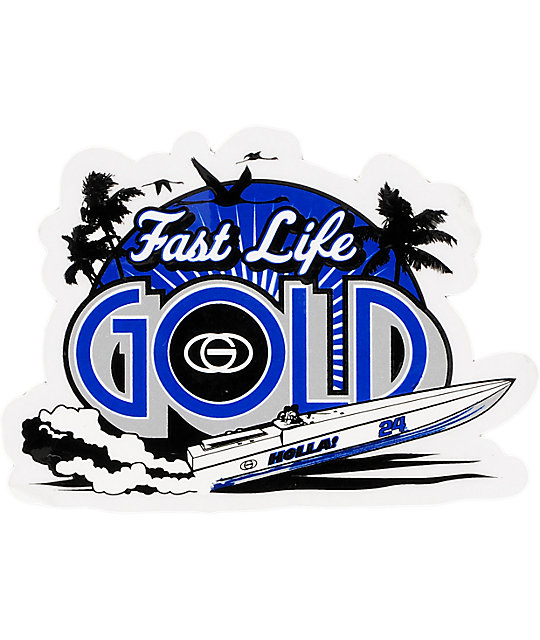 Gold Wheels Fast Life Sticker