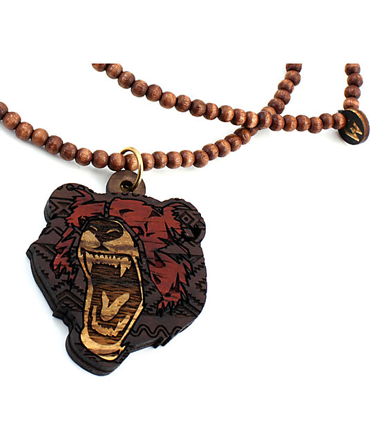 Goodwood NYC Grizzly Deluxe Ebony, Blood & Zebra Wood Necklace