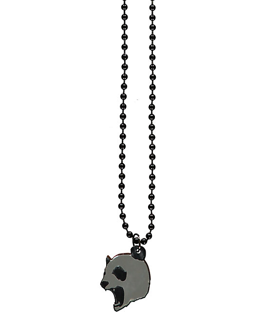 Goodwood NYC Micro Mad Panda Silver & Ebony Wood Necklace