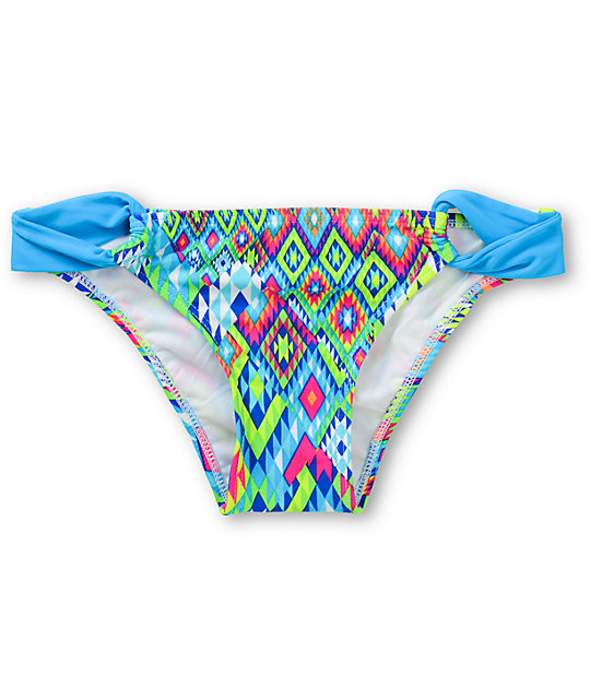 Gossip Blue Tribal Print Tab Side Bikini Bottom