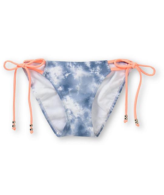 Gossip White Tie Dye & Coral Side Tie Bikini Bottom