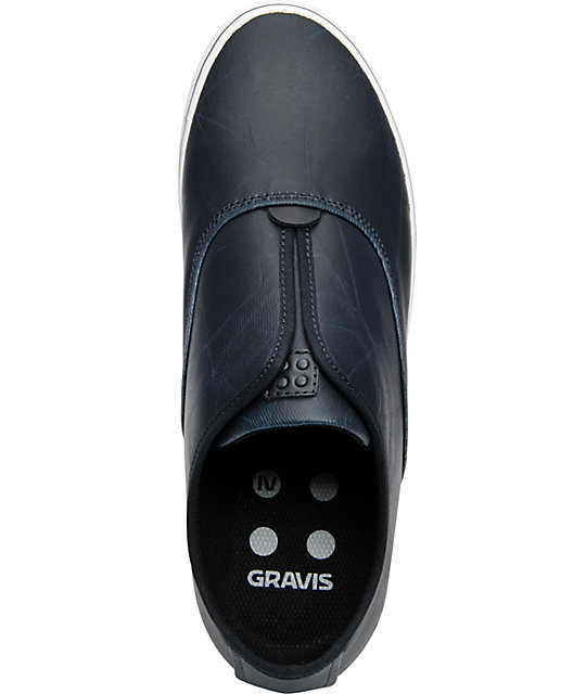 Gravis Dylan Slip On LX Navy Wax Canvas Skate Shoes