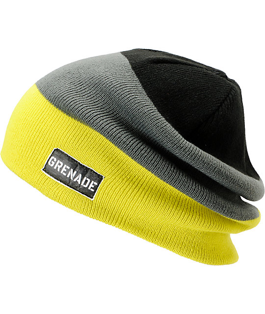 Grenade Blockhead Lime, Grey & Black Beanie