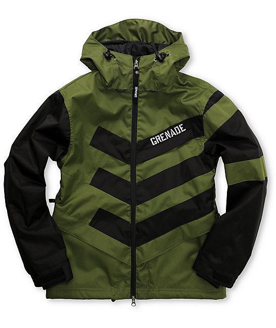 Grenade Boys Chevron Black & Olive Snowboard Jacket