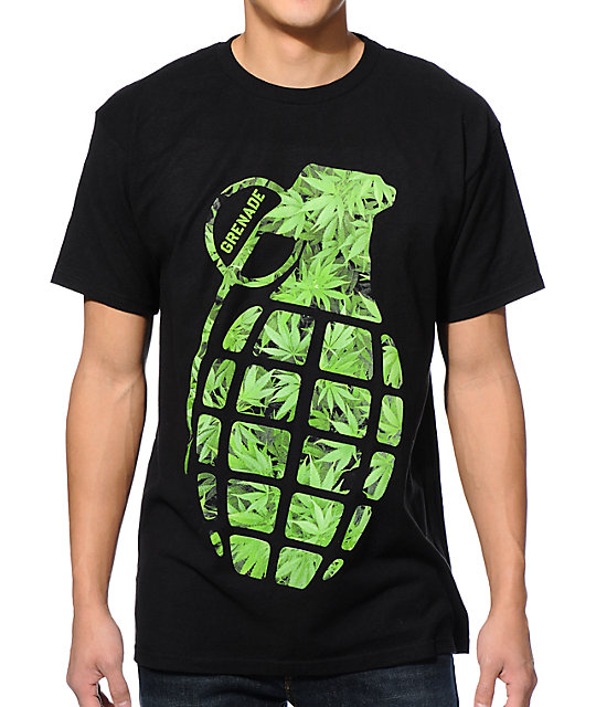 Grenade Burner Bomb Black & Green T-Shirt