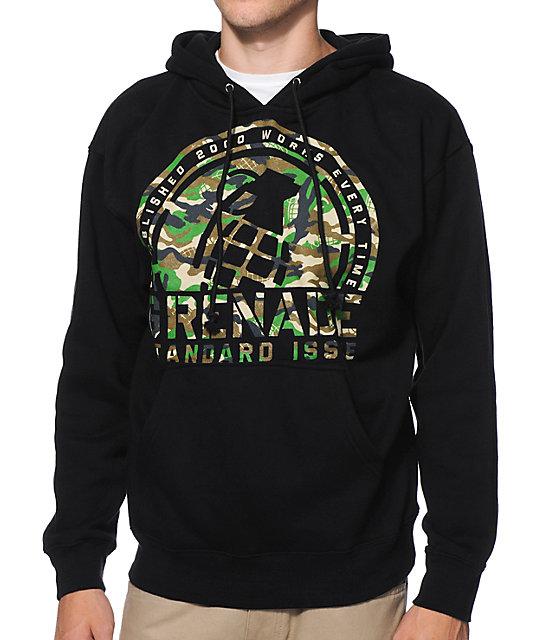 Grenade Camo Crop Black Pullover Hoodie