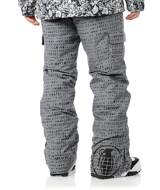 Grenade Cargo Matrix 10K Grey Mens Snowboard Pants