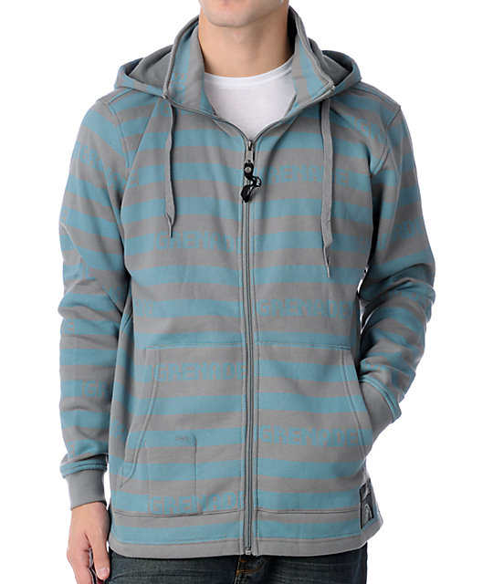 Grenade Castabio Grey & Blue Fleece Hoodie
