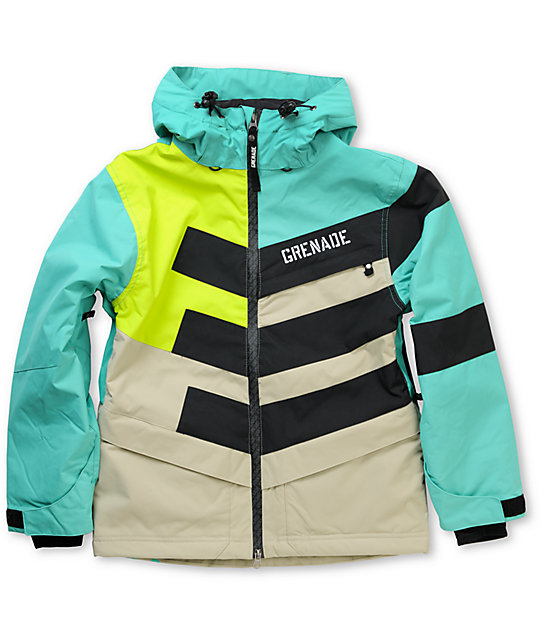 Grenade Chevron Boys Teal 10K Snowboard Jacket