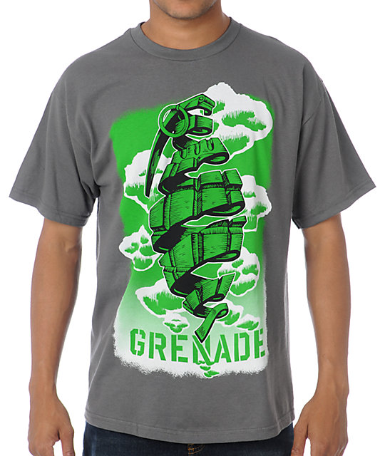 Grenade Cloudy Art Charcoal T-Shirt