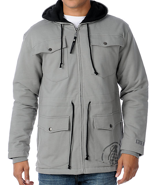 Grenade Fall In Grey Zip Up Hoodie
