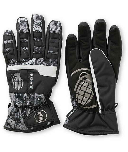 Grenade Fragment Mens Black Snowboard Gloves