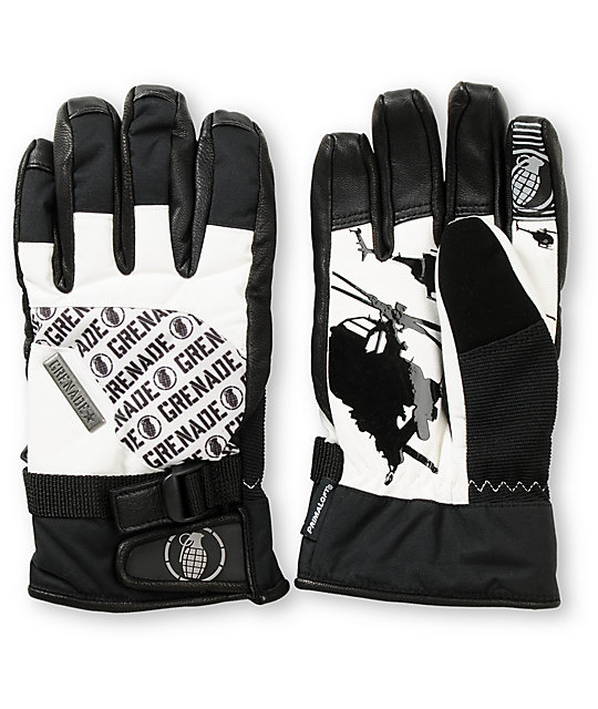Grenade Huey Black & White Snowboard Gloves