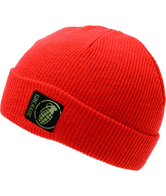 Grenade Max Red Fold Beanie