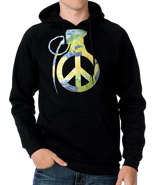 Grenade Mens Peace Bomb Black Hoodie