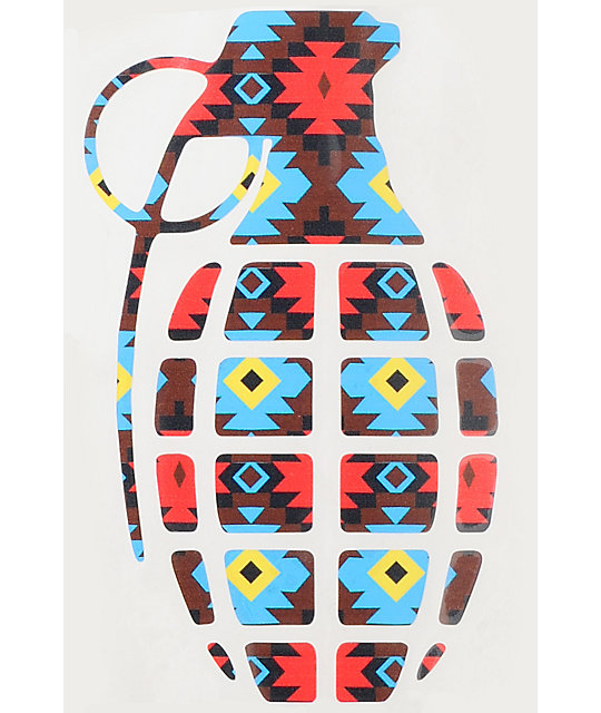 Grenade Native Print Die Cut Sticker