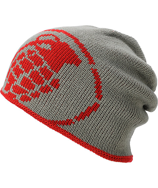 Grenade Reverse Grey & Red Beanie