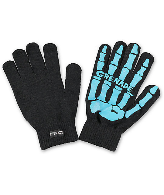 Grenade Skull Black & Blue Knit Gloves