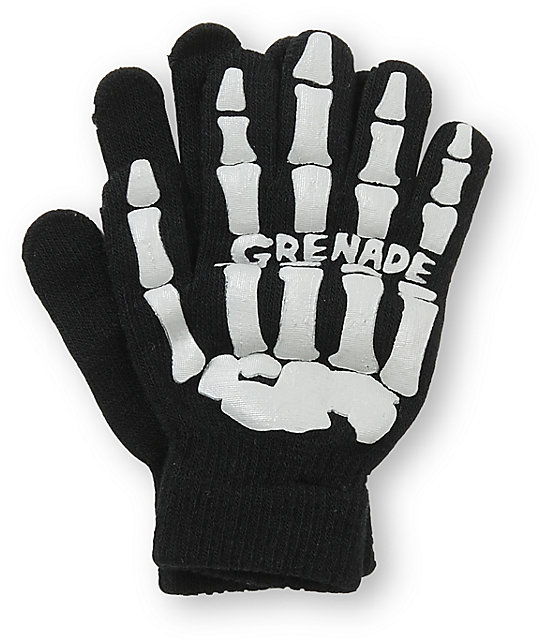 Grenade Skull Black & Grey Gloves