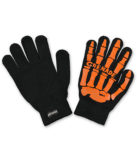 Grenade Skull Black & Orange Knit Gloves