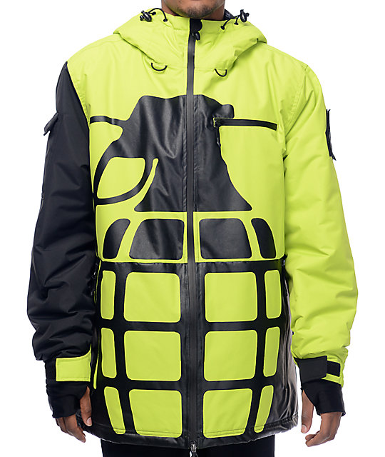 Grenade Solid Positive Negative Slime Lime & Black 10K Snowboard Jacket