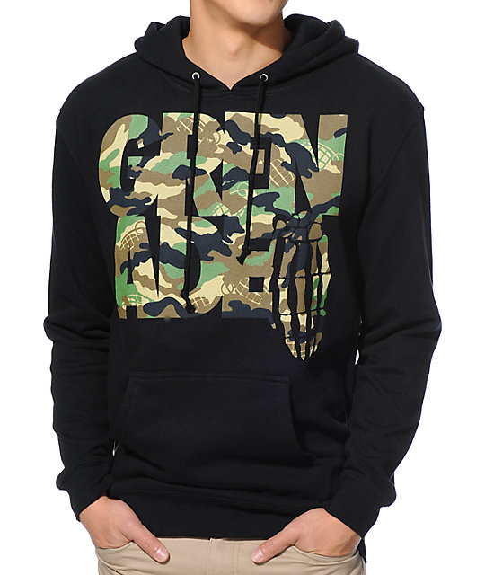 Grenade Stacked Camo Black Pullover Hoodie