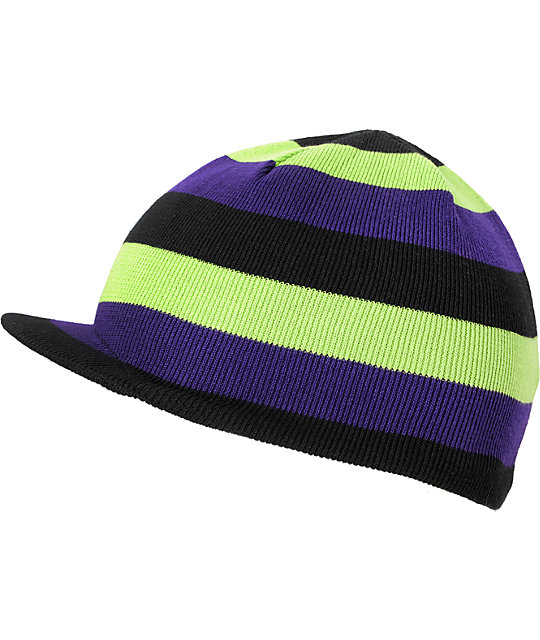 Grenade Stripe Black, Lime & Purple Reversible Visor Beanie