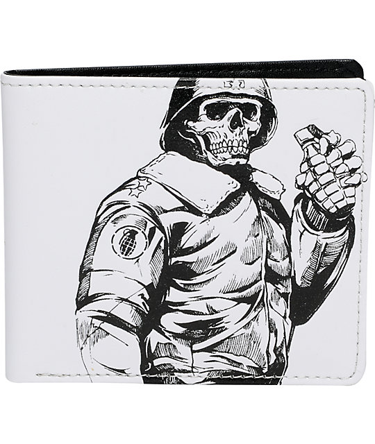 Grenade White Leather Wallet