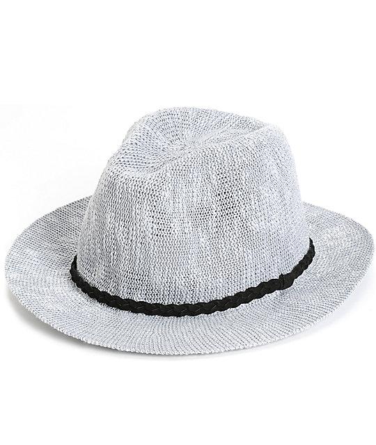 Grey Wide Brim Panama Hat