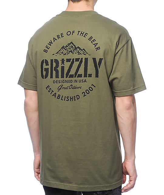 Grizzly All Terrain Military Green T-Shirt