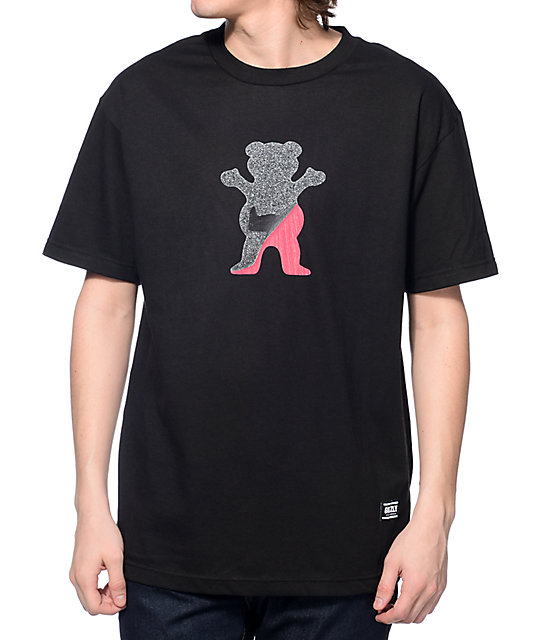 Grizzly Cut Out Bear Black T-Shirt