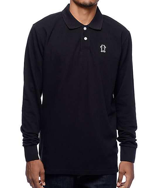 Grizzly Fisher Creek Black Long Sleeve Polo Shirt
