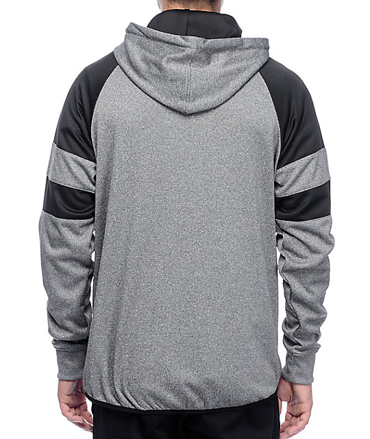 Grizzly Full Court Half Zip Grey & Black Tech Fleece Hoodie