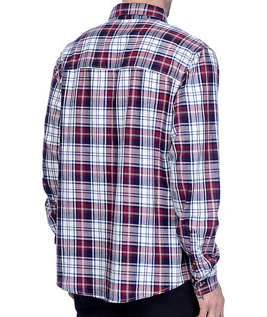 Grizzly Ivy Woven Navy & Red Flannel Shirt