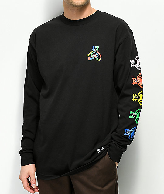 Grizzly Primary Bear Black Long Sleeve T Shirt by Grizzly Griptape