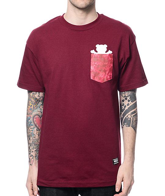 Grizzly Shatter OG Bear Maroon Pocket T-Shirt