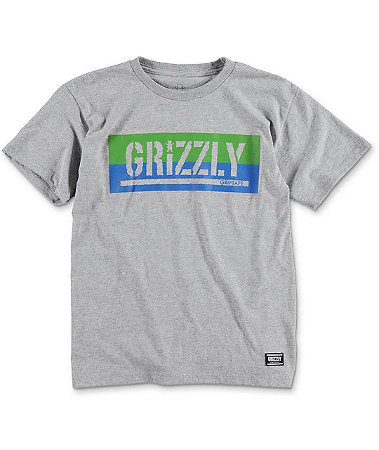 Grizzly Split Stamp Cub Heather Grey Boys T-Shirt