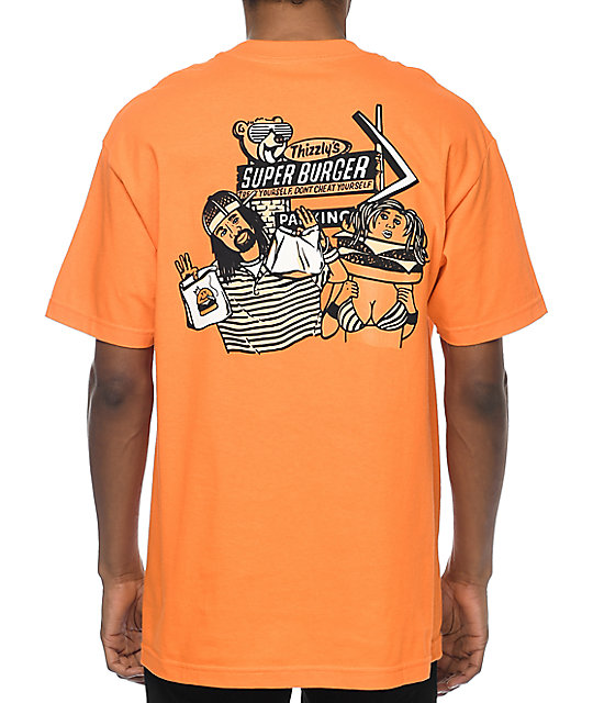 Grizzly Thizzly Burger Orange T-Shirt
