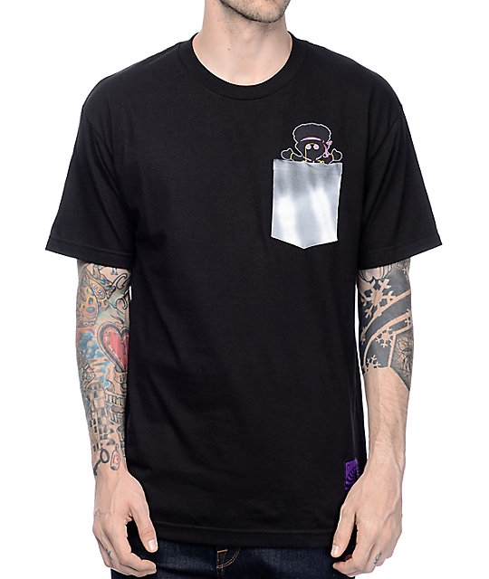 Grizzly X Hendrix Jimi Bear Black Pocket T-Shirt